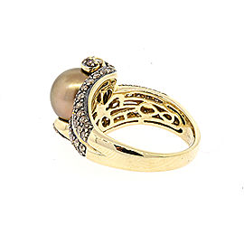 Levian 14K Yellow Gold Cultured Pearl, Diamond Ring Size 8