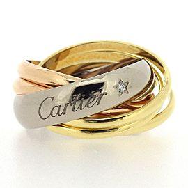 Cartier Trinity La Belle Ring 18K Yellow White & Rose Gold Diamond Size 6