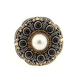 Konstantino Ring 18k Gold Sterling Silver Onyx Pearl Band sz 5.75 Rare Vintage