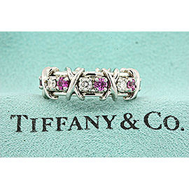 Tiffany & Co. Schlumberger 16 Stone Pink Sapphire Diamond Ring Band