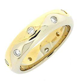 Bulgari 18K Yellow & White Gold Diamond Ring Size 6.5