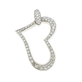 18k White Gold Open Pave Heart Diamond Pendant .96 Cts