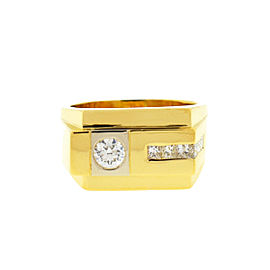 18k Yellow Gold Men's Diamond Band Ring .80 Cts