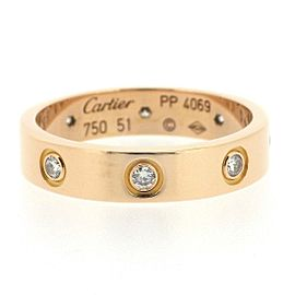 Cartier Mini Ring Love 18K Rose Gold 8 Diamonds Size 5.75