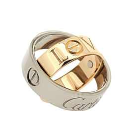 Cartier Love Secret Ring 18K White and Rose Gold Size 4.5