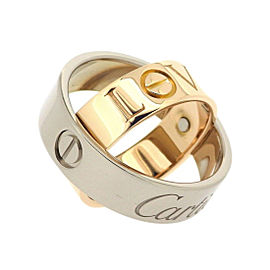 Cartier Love Ring 18K White and Rose Gold Size 5.25