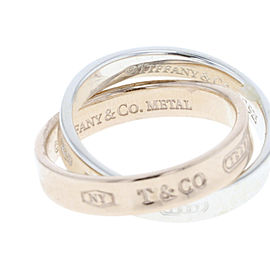 Tiffany & Co. 1837 925 Sterling Silver and Rose Tone Metal Interlocking Ring Size 4
