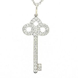 Tiffany & Co. Fleur De Lis Key 18K White Gold with Platinum and Diamond Necklace