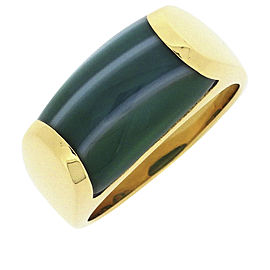 Bulgari Tronchetto 18K Yellow Gold Agate Ring Size 5.5