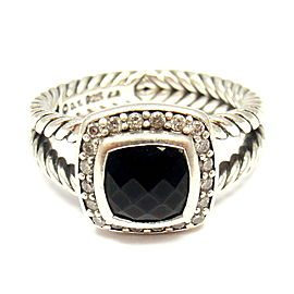 David Yurman 925 Sterling Silver Albion Onyx 0.22ctw Diamond Ring Size 6.75