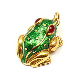 David Webb 18K Yellow Gold Green Red Enamel Baby Frog Pendant