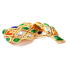 Mauboussin 18K Yellow Gold Enamel Harlequin 0.20ctw Diamond Brooch
