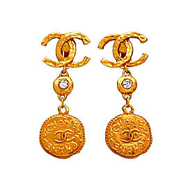 Chanel CC Gold Tone Glass Simulated Stone Vintage Earrings