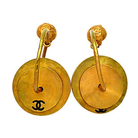 Chanel CC Gold Tone Plate Vintage Earrings