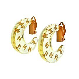 Chanel CC Gold Tone Clear Plastic Hoop Vintage Earrings