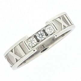 Tiffany & Co. Atlas 18K White Gold Diamond Ring Size 7.75
