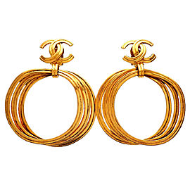 Chanel CC Gold Tone Hoop Vintage Earrings