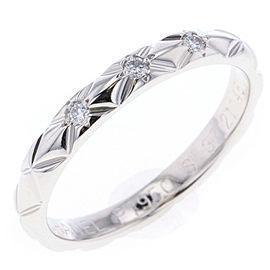 Chanel Matelasse Platinum Diamond Ring Size 4.25