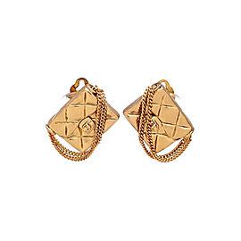 Chanel CC Gold Tone Handbag Vintage Earrings