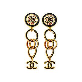 Chanel CC Black Gold Tone Earrings