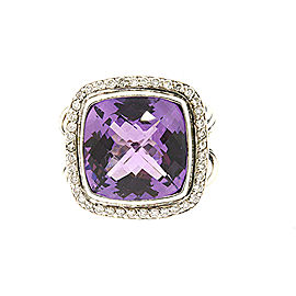 David Yurman Albion Sterling Silver Amethyst, Diamond Ring Size 6