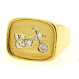 One of a Kind Mens 18k Yellow Gold Diamond Motorcycle Biker Bike Ring Band 10