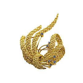 18K YELLOW GOLD MESH DESIGN CYLON SAPPHIRE RIBBON PIN BROOCH 15.4 GRAMS
