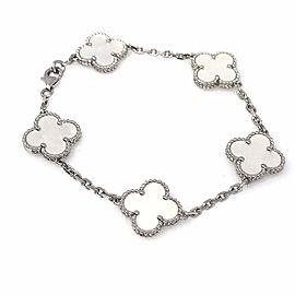 Van Cleef & Arpels 18K White Gold Mother Of Pearl Alhambra Bracelet