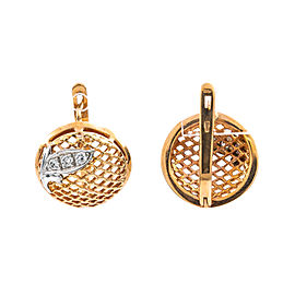 14K Rose Gold Two Tone 0.29Ct F VS1 Diamond French Back Earrings Woven Design