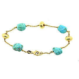 18k Yellow Gold Turquoise Station Bracelet Hammered Bead Charm Link
