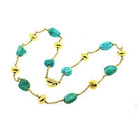 18k Yellow Gold Turquoise Bead Station Necklace Chain Hammered Bead Diamond