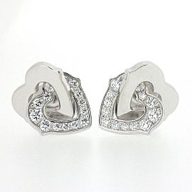 Cartier Double Heart 18K White Gold Diamond Earrings