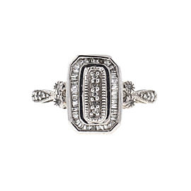 14k White Gold Ladies Diamond Rectangular Ring Approx .50 Cts TW