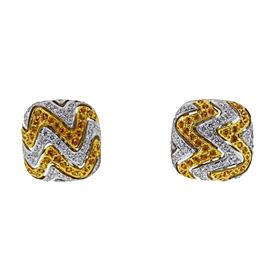 18k White Gold Diamond Citrine Square Earrings