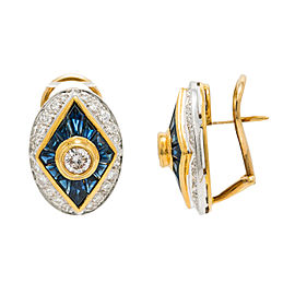 18K Two Tone Yellow Gold Sapphire 1.75 Ct Diamond Earrings 10.6 Grams