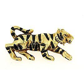 Tiger Cheetah Leopard Pin 14k Yellow Gold Black Enamel Striped sneaky Prowl 4.7g