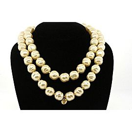 Chanel Glass Simulated Pearl Necklace