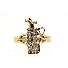 Golf Clubs Bag Ring Custom 14k Yellow Gold .48ct Pave Diamond Band sz 10.5