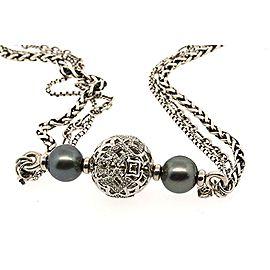 David Yurman Sterling Silver Cultured Pearl, Diamond Necklace