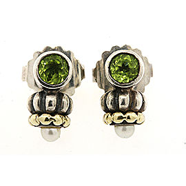 Lagos 18K Yellow Gold, Sterling Silver Peridot, Cultured Pearl Earrings