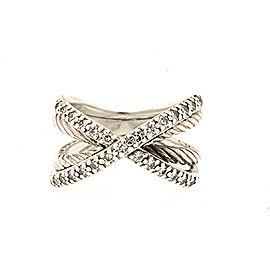 David Yurman Sterling Silver Diamond Ring Size 6.75