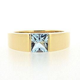 Cartier 18K Yellow Gold Aquamarine Ring Size 6.25
