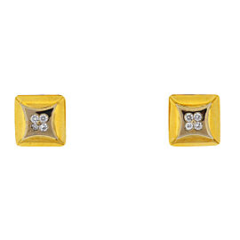 14k Two Tone Square Four Diamonds Cufflinks Approx .36 TCW