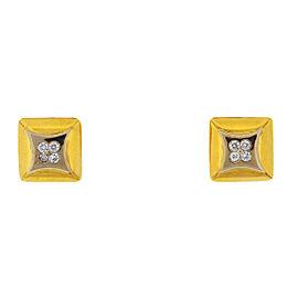 14k Two Tone Square Four Diamonds Cufflinks Approx .36 TCW