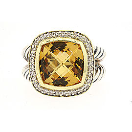David Yurman Sterling Silver Citrine, Diamond Ring Size 6