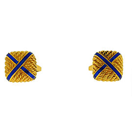 18k Yellow Gold Square with X Blue Enamel Cufflinks