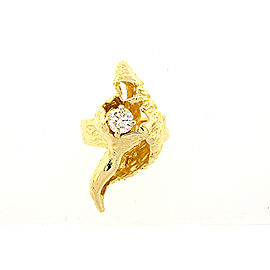 Ilias Lalaounis .62 carat Single Diamond Seashell Ring 18k Yellow Gold sz 5.25