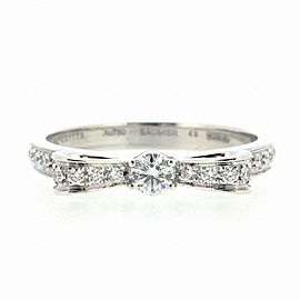 Chanel 18K White Gold Diamond Ring Size 4.75