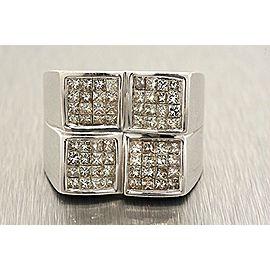 Mens Diamond Ring 14k White Gold 2.24ct Princess Cut Invisible Set sz 10 Large