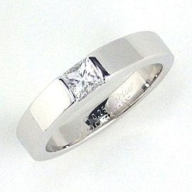 Cartier Tank 18K White Gold Diamond Ring Size 4.75
